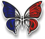 Ornate Butterfly Wings Design With France French Flag Motif Vinyl Car Sticker 100x85mm